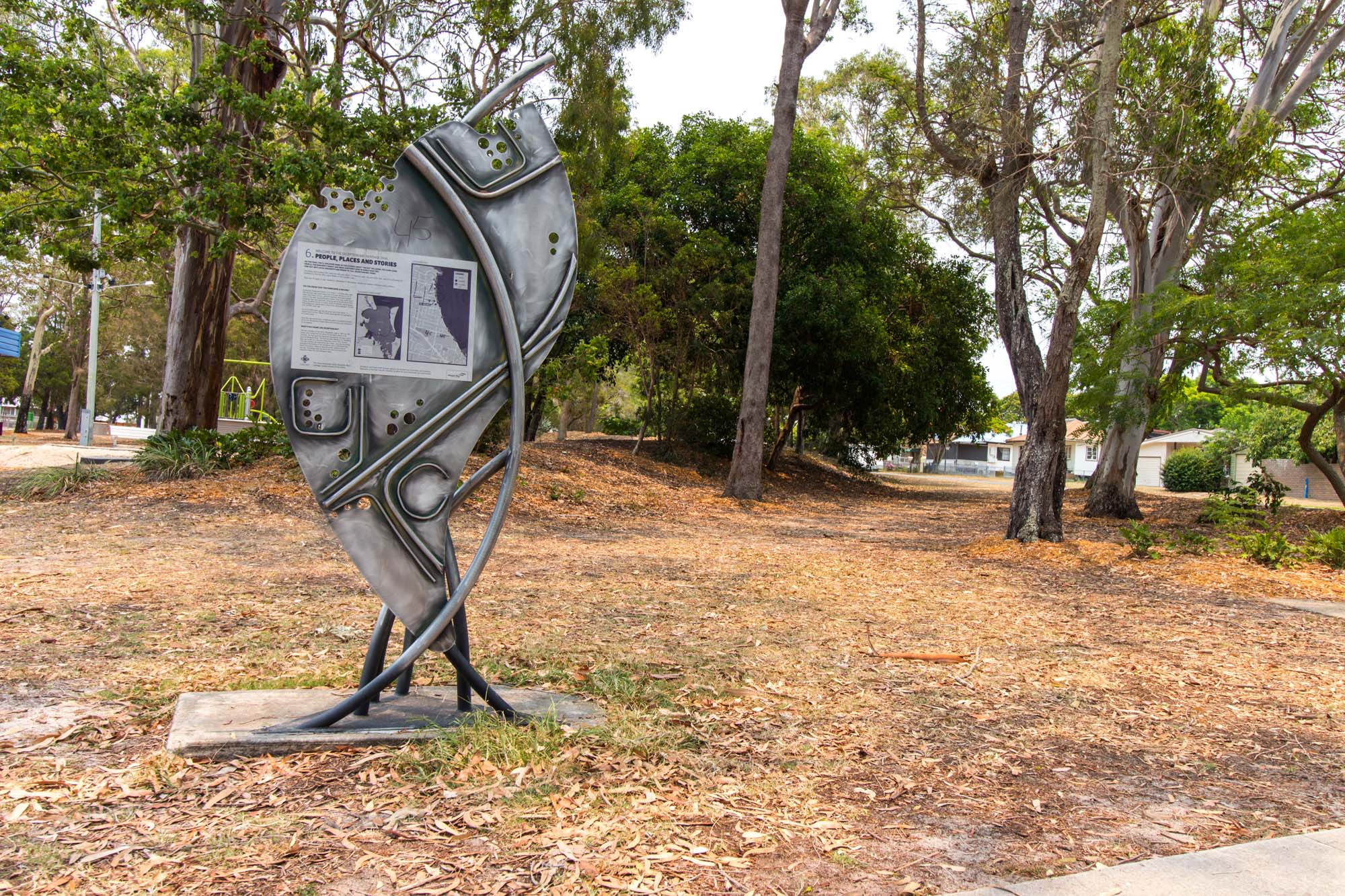 This sculpture has information about the trail